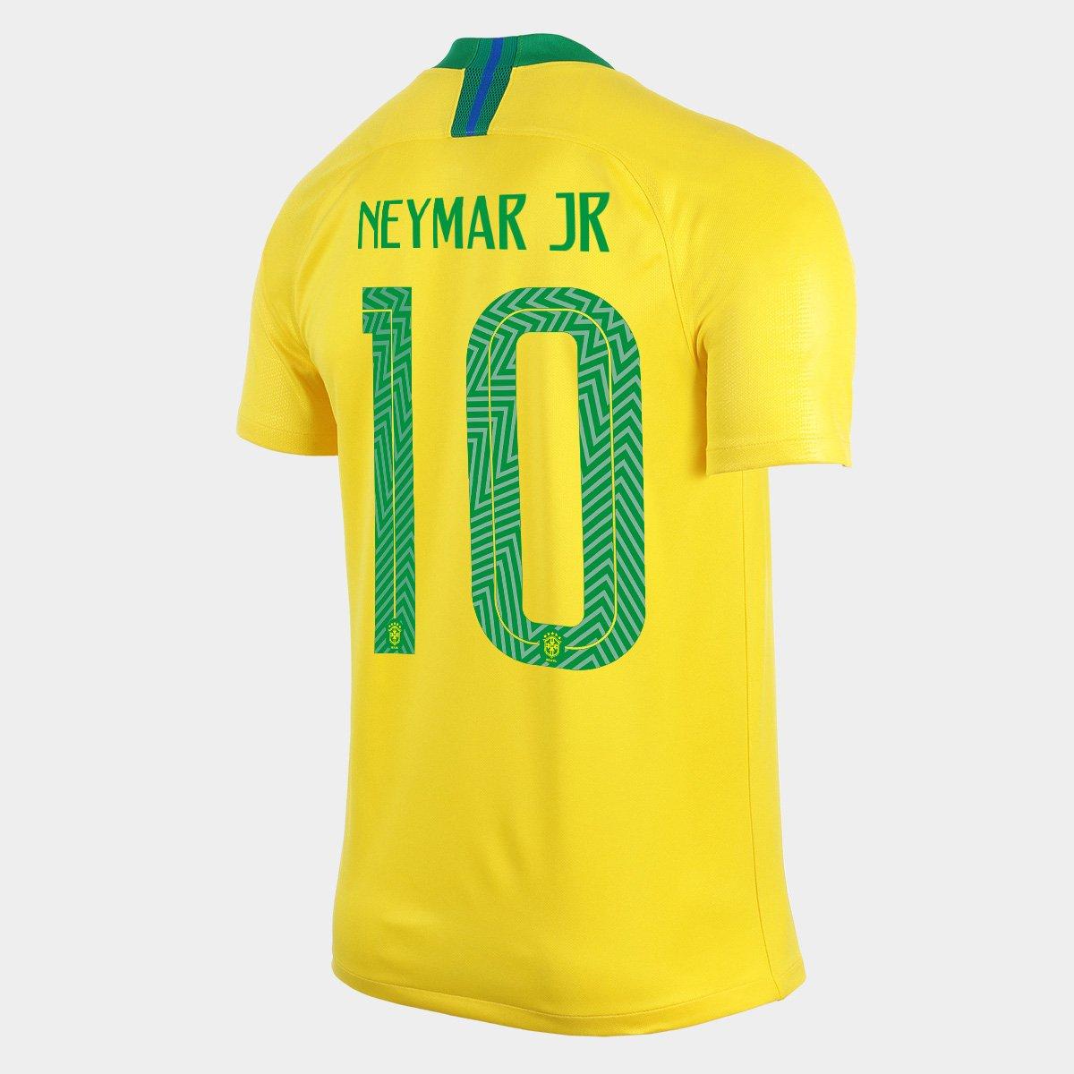Camisa Seleção Brasil I 2018 nº 10 Neymar Jr - Torcedor Nike Masculina - Amarelo e ...