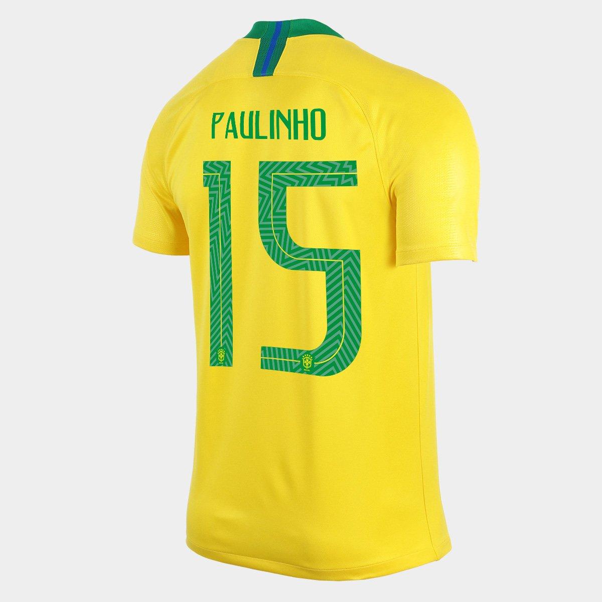 c4fe97b445 Camisa Seleção Brasil I 2018 nº 15 Paulinho - Torcedor Nike Masculina