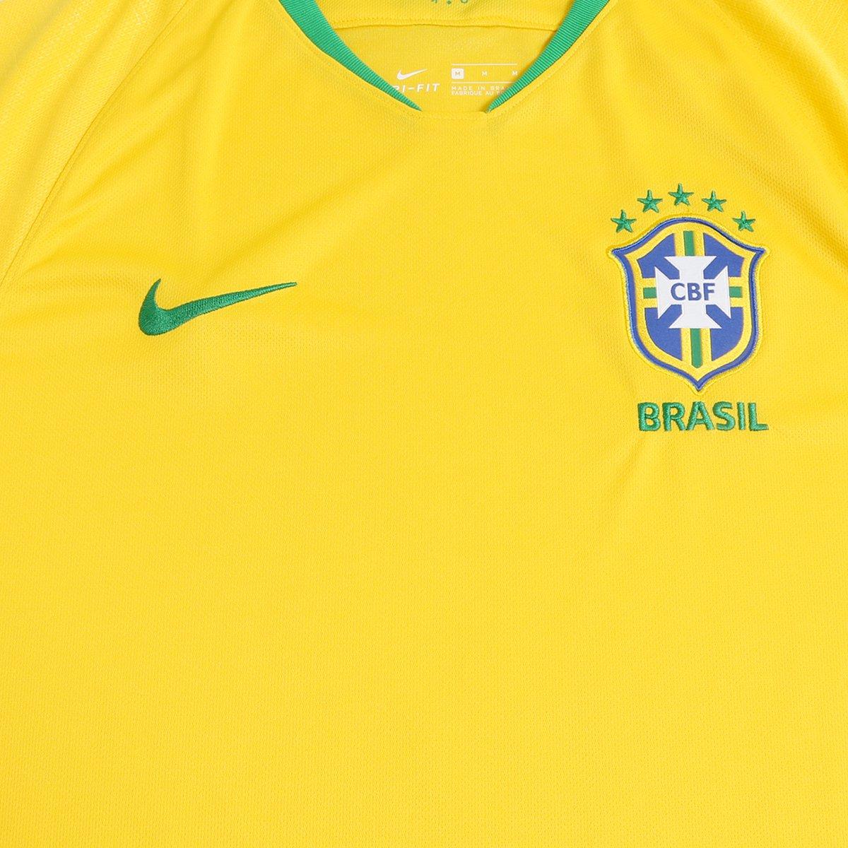 ... Camisa Seleção Brasil I 2018 nº 17 Fernandinho - Torcedor Nike  Masculina ... a1cdbd00eb77e