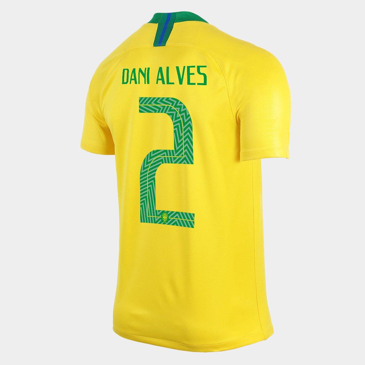 acc5d52bc6 Camisa Seleção Brasil I 2018 nº 2 Dani Alves - Torcedor Nike Masculina -  Compre Agora