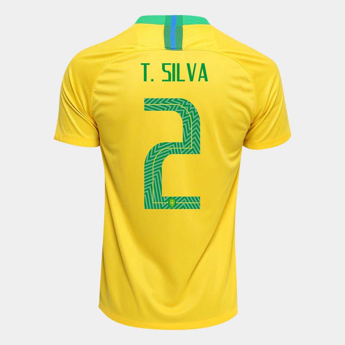 Camisa Seleção Brasil I 2018 nº 2 T. Silva - Torcedor Nike Masculina ... 024f3111556e0