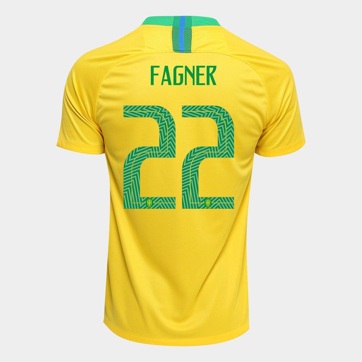 55c3e8a0f9 Camisa Seleção Brasil I 2018 nº 22 Fagner - Torcedor Nike Masculina -  Amarelo e Verde - Compre Agora