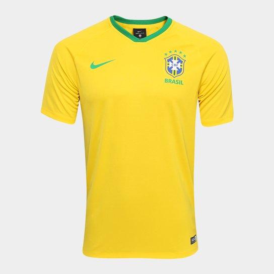 Camisa Seleção Brasil I 2018 s/n°  Estádio Nike Masculina - Amarelo+Verde