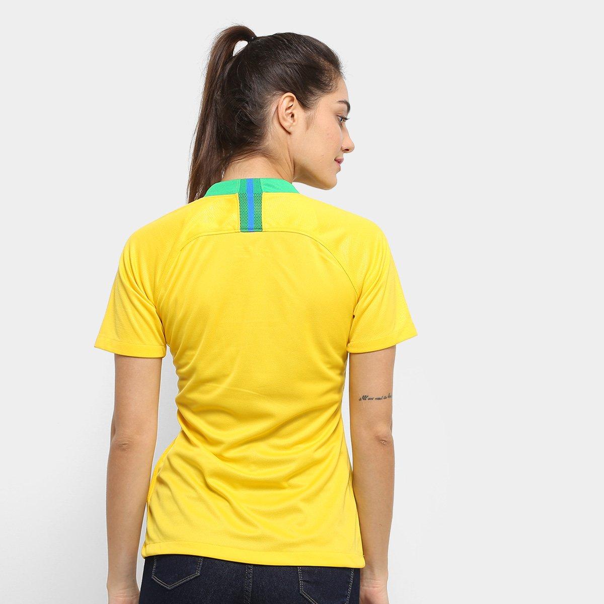 526f704383 Camisa Seleção Brasil I 2018 s n° - Torcedor Nike Feminina - Amarelo ...