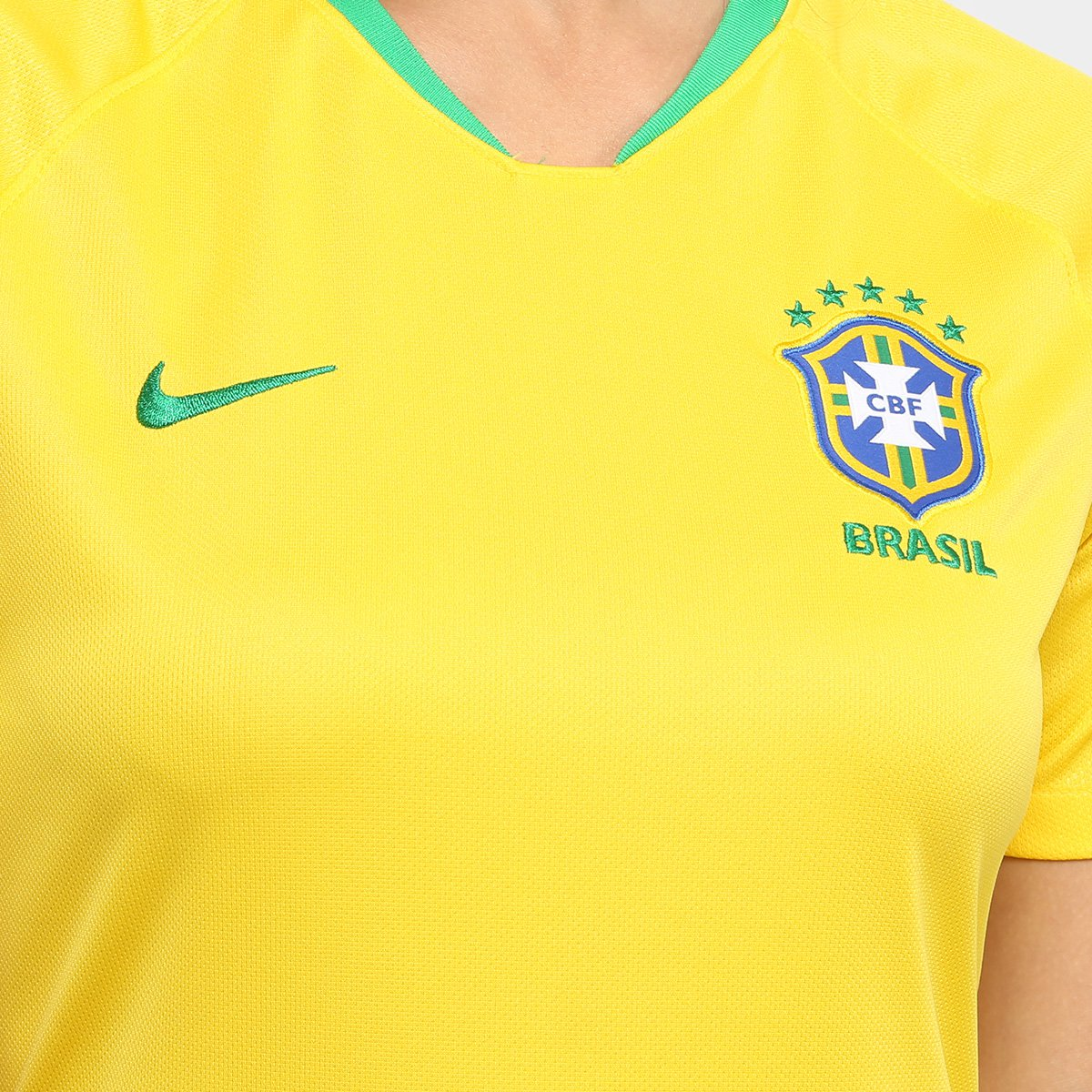 Camisa Seleção Brasil I 2018 s n° - Torcedor Nike Feminina - Amarelo ... f6dc256edd8b2