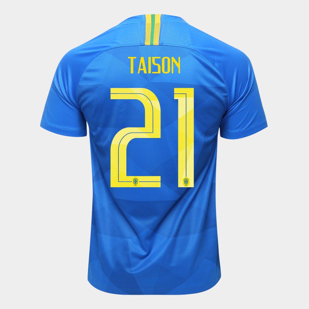 34c37ab9ea377 Camisa Seleção Brasil II 2018 nº 21 Taison - Torcedor Nike Masculina - Azul  - Compre Agora