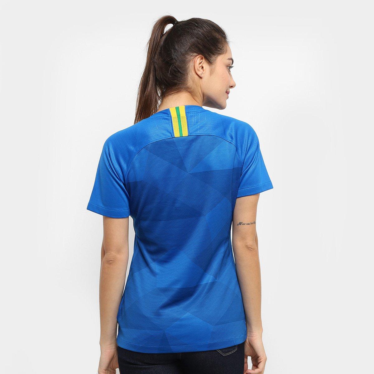 26b5e3cd6e Camisa Seleção Brasil II 2018 s n° - Torcedor Nike Feminina - Azul ...