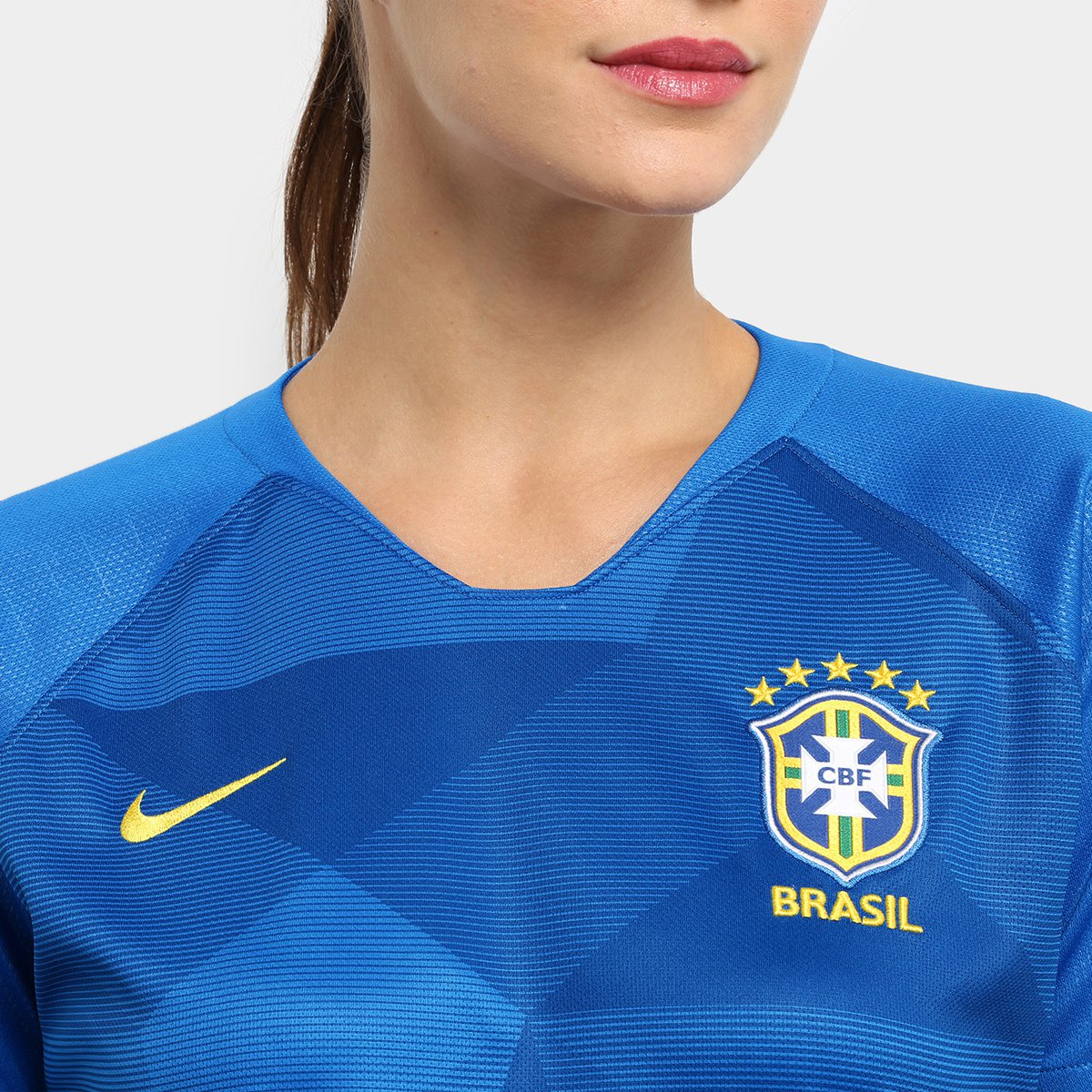 Camisa Seleção Brasil II 2018 s n° - Torcedor Nike Feminina - Azul ... 090eccdf45659