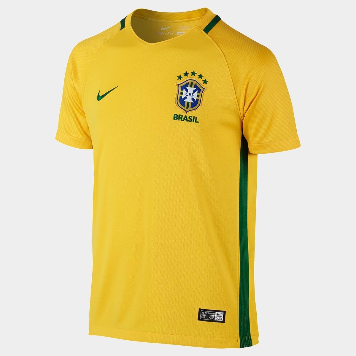 Camisa Seleção Brasil Infantil I 2016 s nº Torcedor Nike - Compre Agora  53408b7b34c49