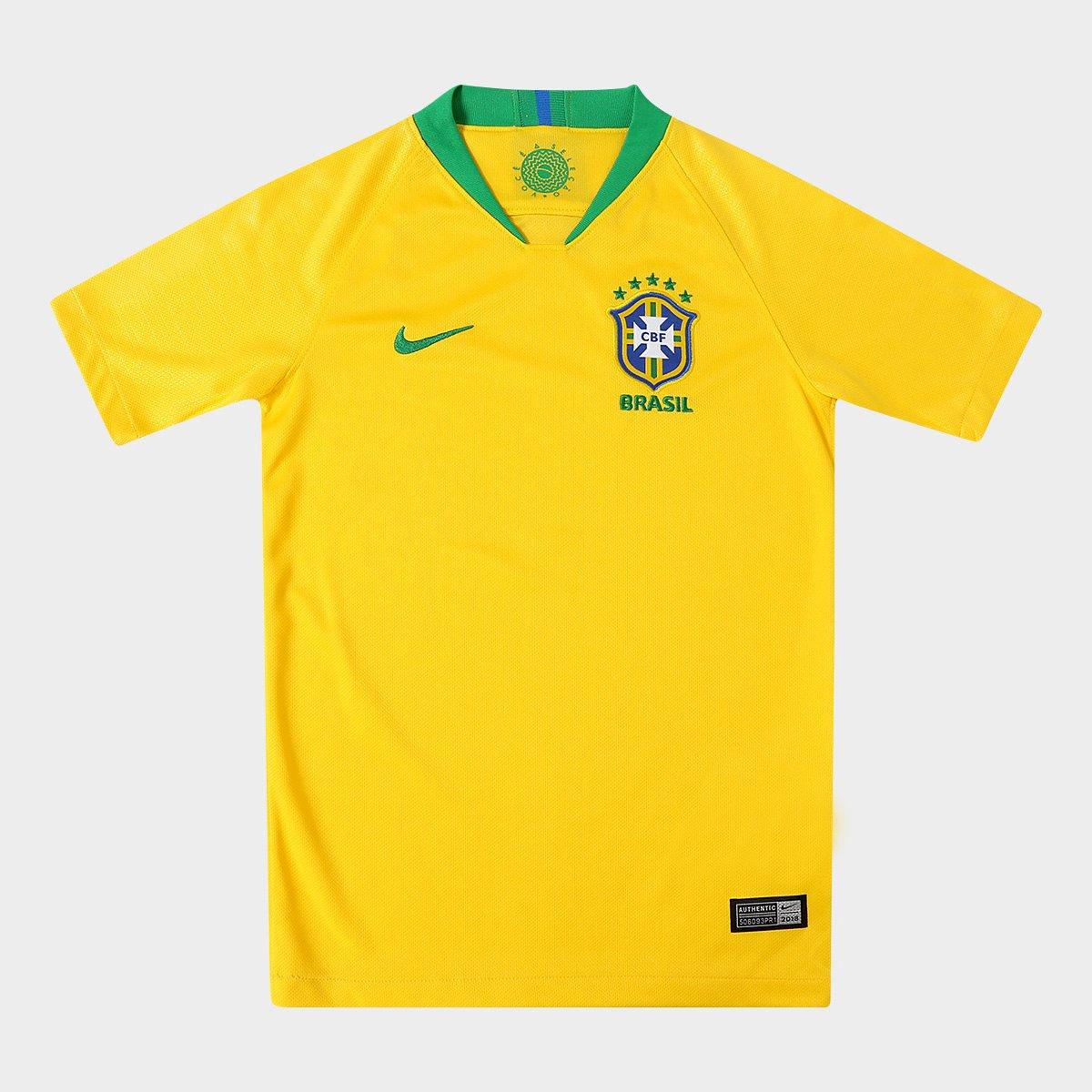 s Verde Nike Brasil Juvenil e n° Amarelo 2018 I Camisa Torcedor Seleção ZP48q5X
