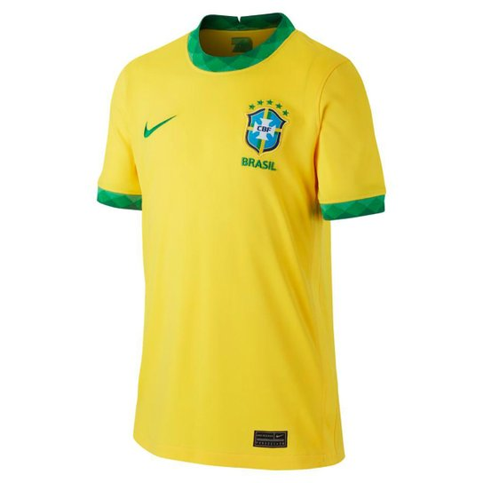 Camisa Seleção Brasil Juvenil I 20/21 s/n° Torcedor Nike - Amarelo+Verde