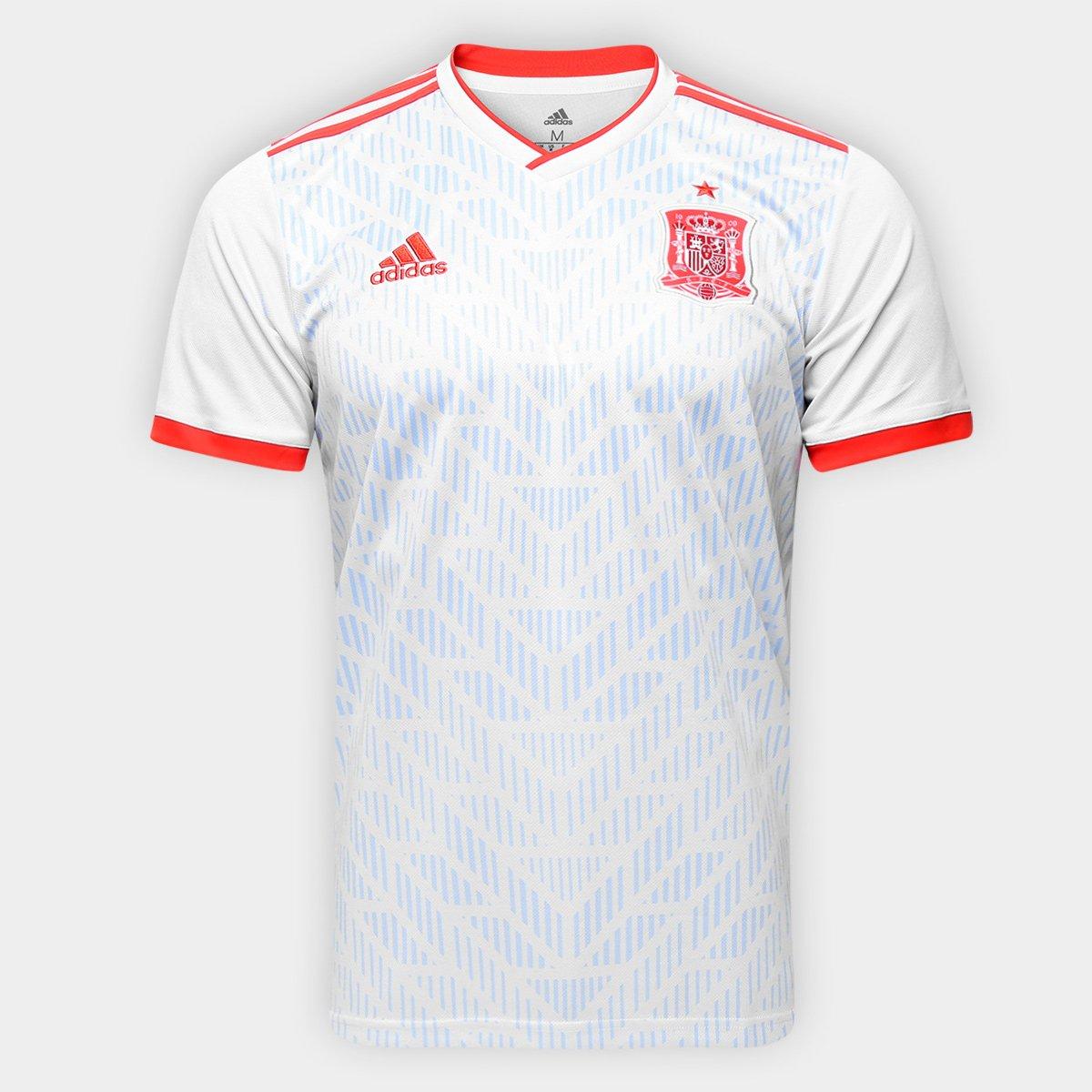 866462b010410 Camisa Seleção Espanha Away 18 19 s n° - Torcedor Adidas Masculina - Branco  e Vermelho - Compre Agora