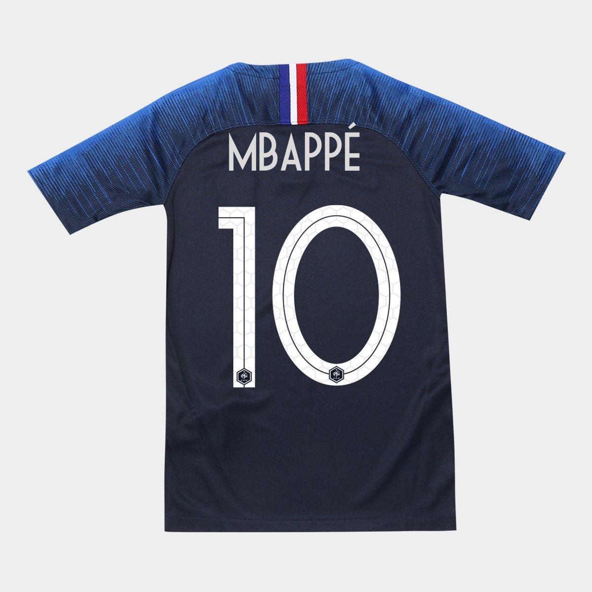Camisa Seleção França Juvenil Home 2018 n° 10 Mbappé - Torcedor Nike -  Compre Agora  26653df7c5bc1