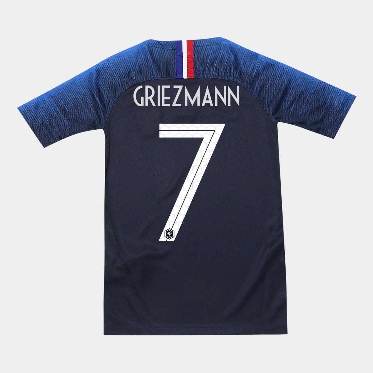 Camisa Seleção França Juvenil Home 2018 n° 7 Griezmann - Torcedor Nike -  Compre Agora  123306f152868