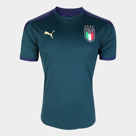 Camisa Seleção Itália Treino 19/20 Puma Masculina - Verde Escuro+Marinho