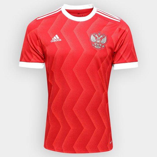 Camisa Seleção Rússia Home 2017 s/nº - Torcedor Adidas Masculina - Vermelho+Branco