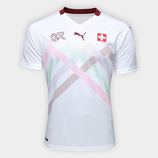 Camisa Seleção Suiça Away 19/20 s/nº Torcedor Puma Masculina - Branco+Vermelho