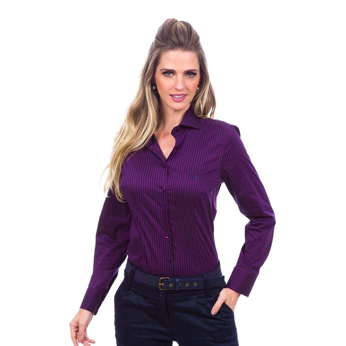Camisa Social Listrada Feminino - Compre Agora   Netshoes c043856dc5
