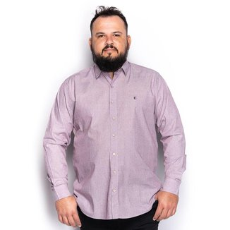 Camisa Social Manga Longa Plus Size Clássica Trabalhada