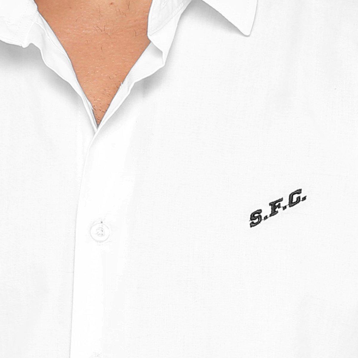 Camisa Social Santos FC Manga Longa Masculina - Branco - Compre ... 64b04fe395d31
