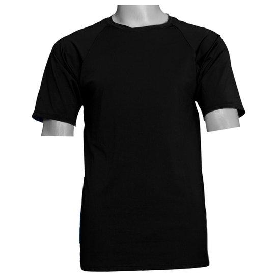 Camisa Térmica em Poliéster C/ Elastano Compressão Slim - Preto