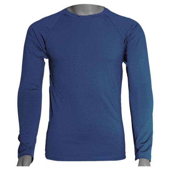 Camisa Térmica Manga Longa em Poliéster C/ Elastano Compressão Slim - Azul