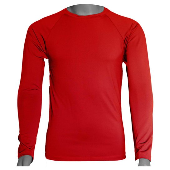 Camisa Térmica Manga Longa em Poliéster C/ Elastano Compressão Slim - Vermelho