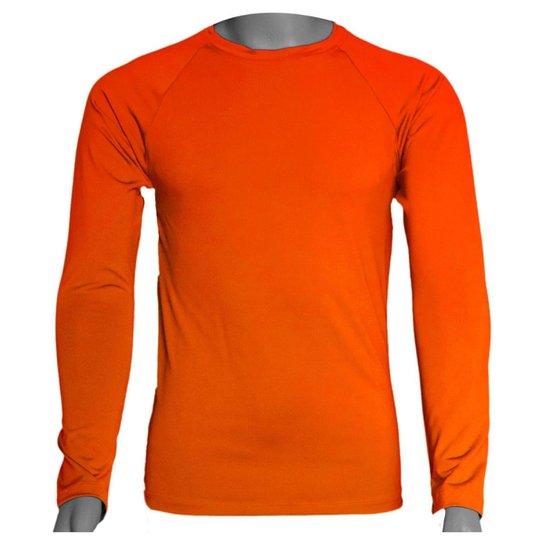 Camisa Térmica Manga Longa em Poliéster C/ Elastano Compressão Slim - Laranja