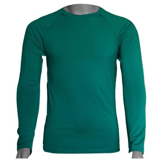 Camisa Térmica Manga Longa em Poliéster C/ Elastano Compressão Slim - Verde