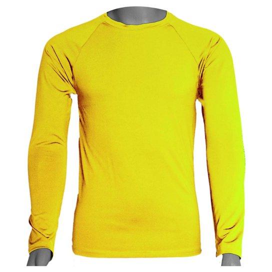 Camisa Térmica Manga Longa em Poliéster C/ Elastano - Amarelo