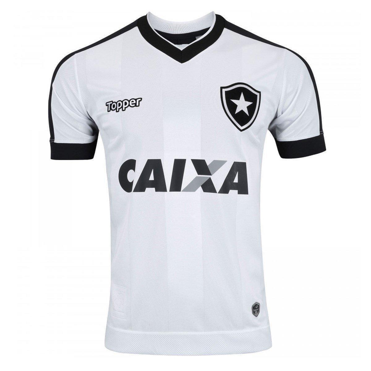 caf27df4c1d5a Camisa Topper Botafogo III 2017 Masculina - Branco e Preto - Compre Agora