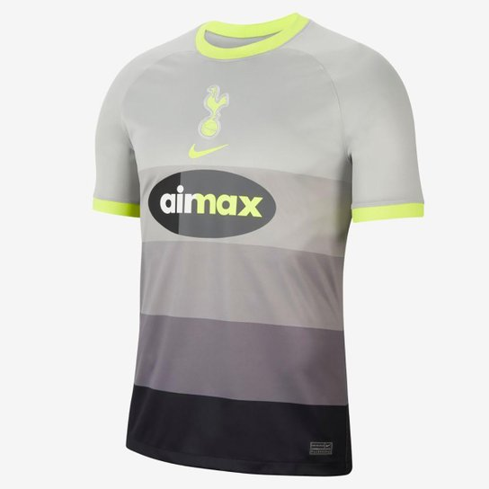 Camisa Tottenham AIR MAX 20/21 Nike Masculina - Cinza+Verde Limão