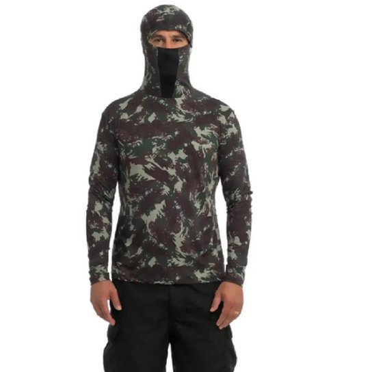 Camisa  Touca Ninja Anti-UV Rápida secagem - Camuflado Verde