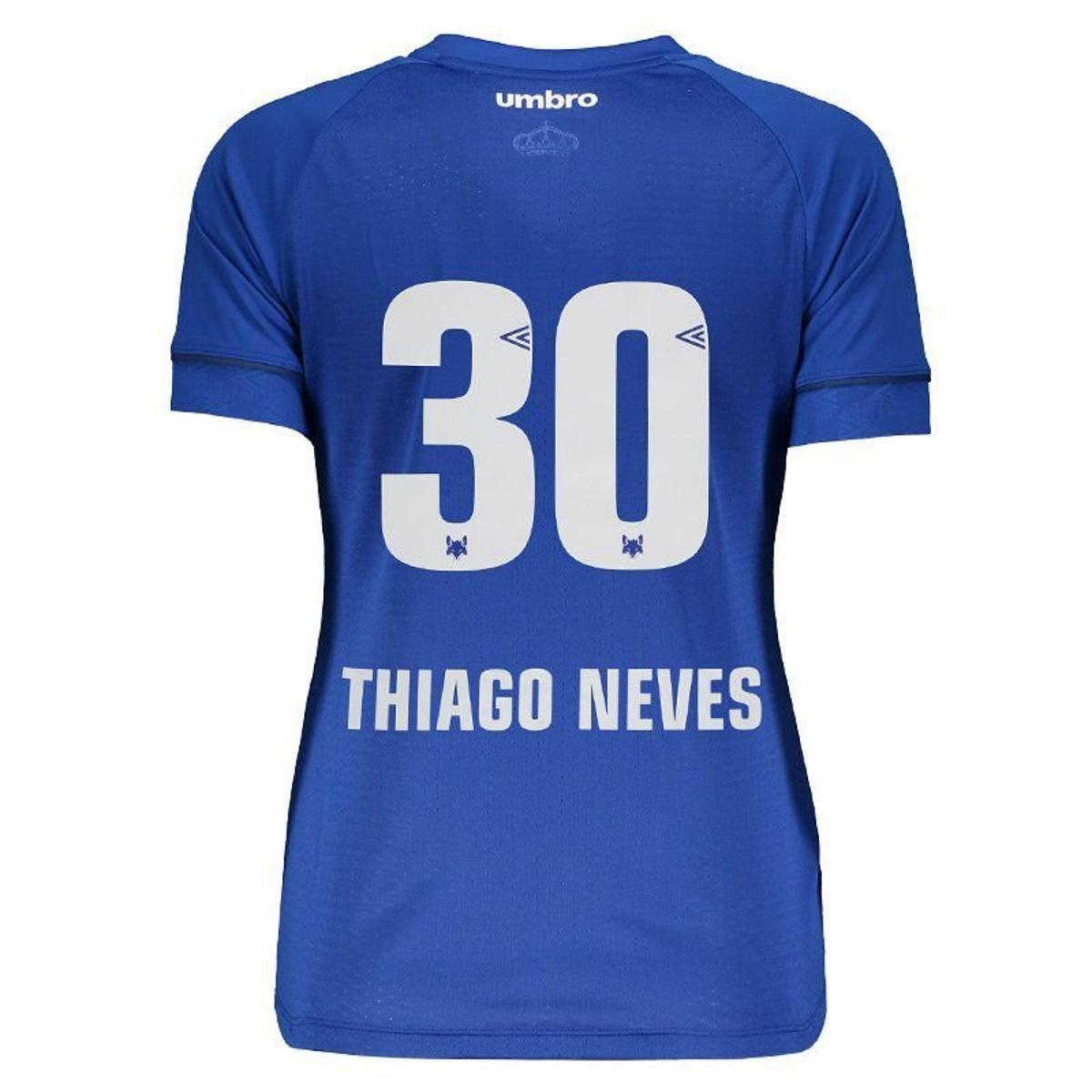 Camisa Umbro Cruzeiro Nº30 Thiago Neves I 2018 Feminina - Azul ... 4a174bd014862
