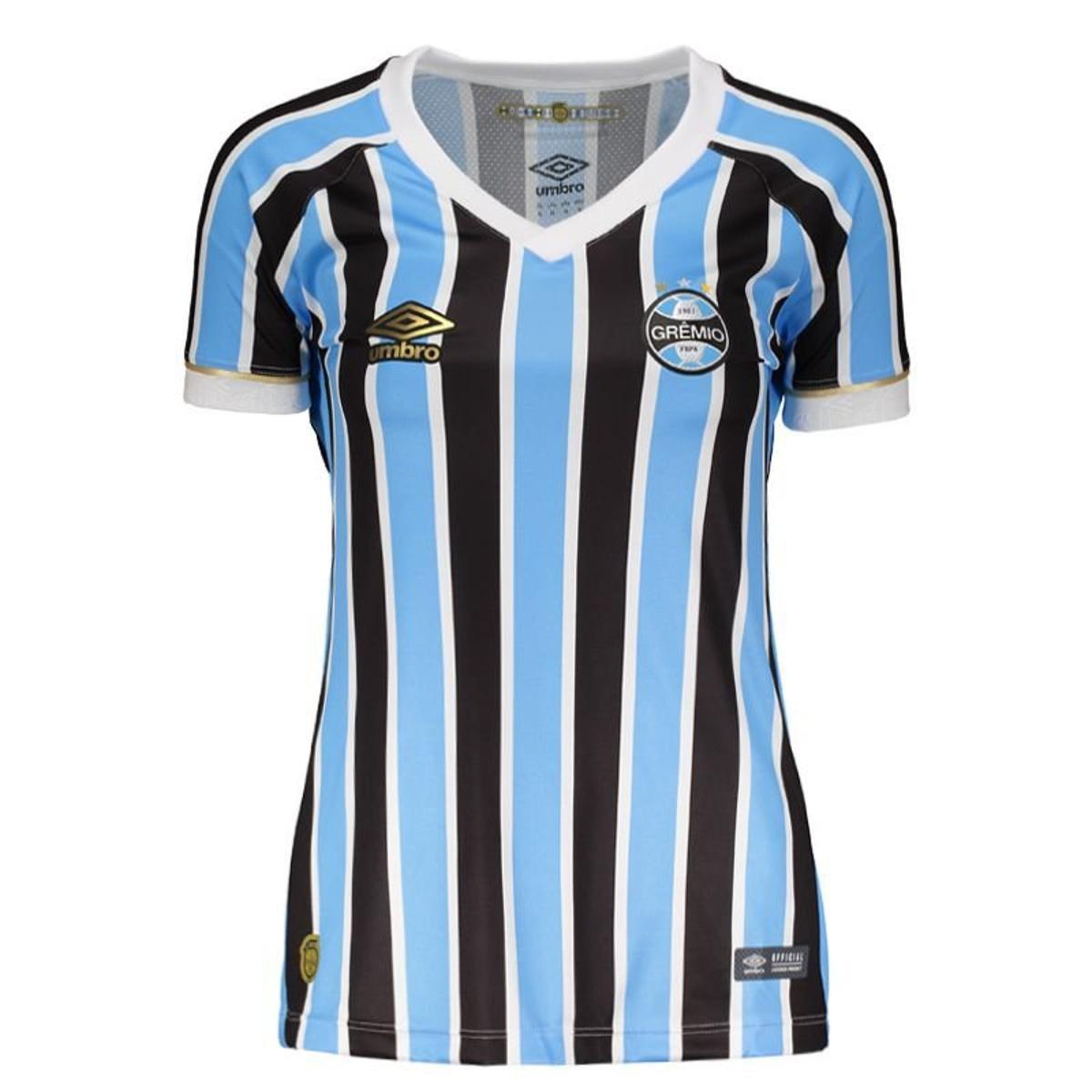 29eadb2e2f335 Camisa Umbro Grêmio Feminino - Preto e Azul - Compre Agora