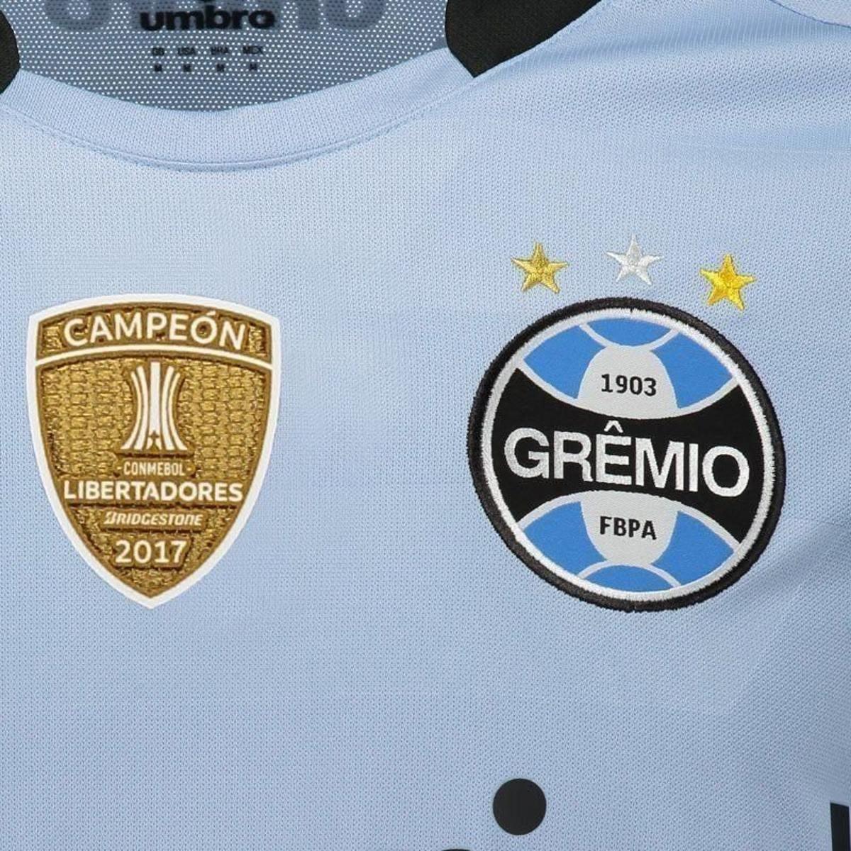 ... Camisa Umbro Grêmio II 2017 Campeão Libertadores sem Número Masculina  ... 02ceb253b78ab