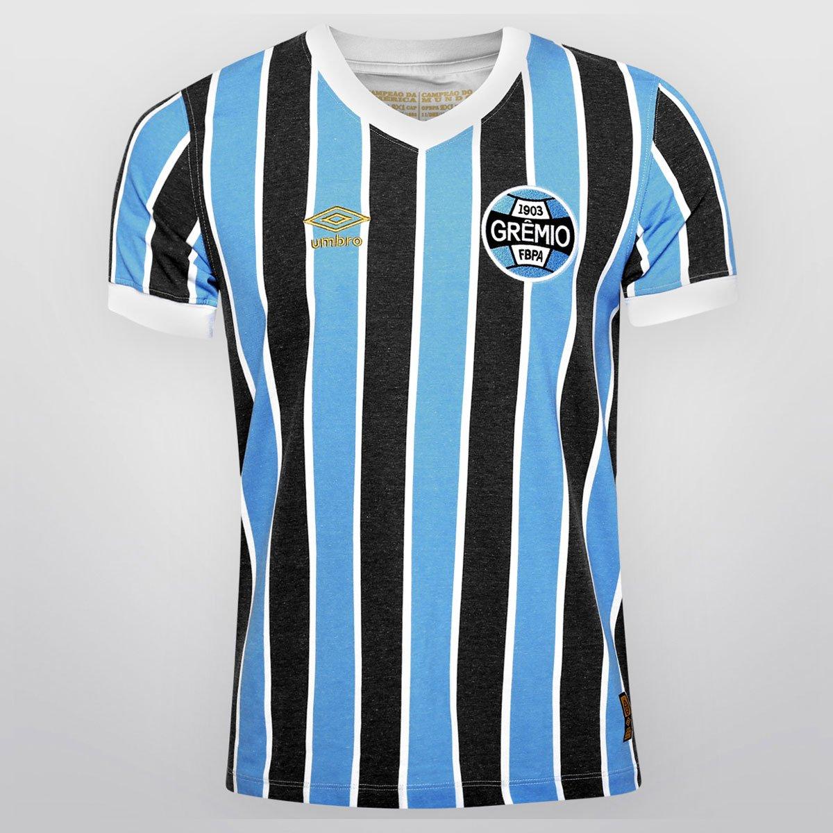 10e197ff2ac28 Camisa Umbro Grêmio Retrô 1983 - Azul Claro e Preto - Compre Agora ...