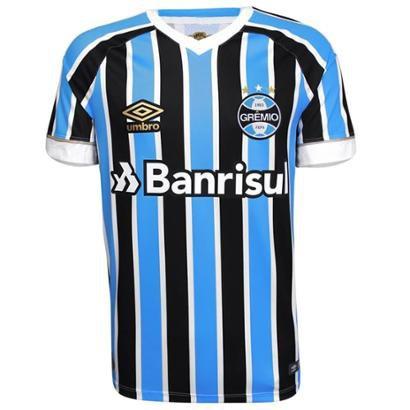 d67ff74b2b Camisa Umbro Masculina Grêmio Oficial I 2018 Game - Azul e Preto | Netshoes
