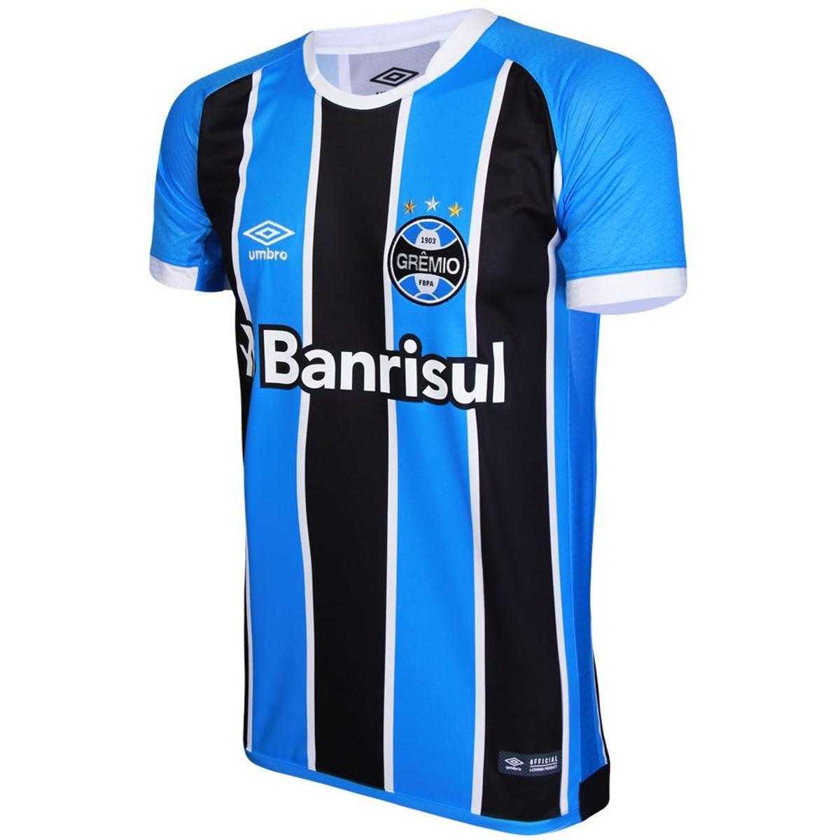 Camisa Umbro Masculina Grêmio Oficial I Mundial 2017 Torcedor ... 93a109454d7de