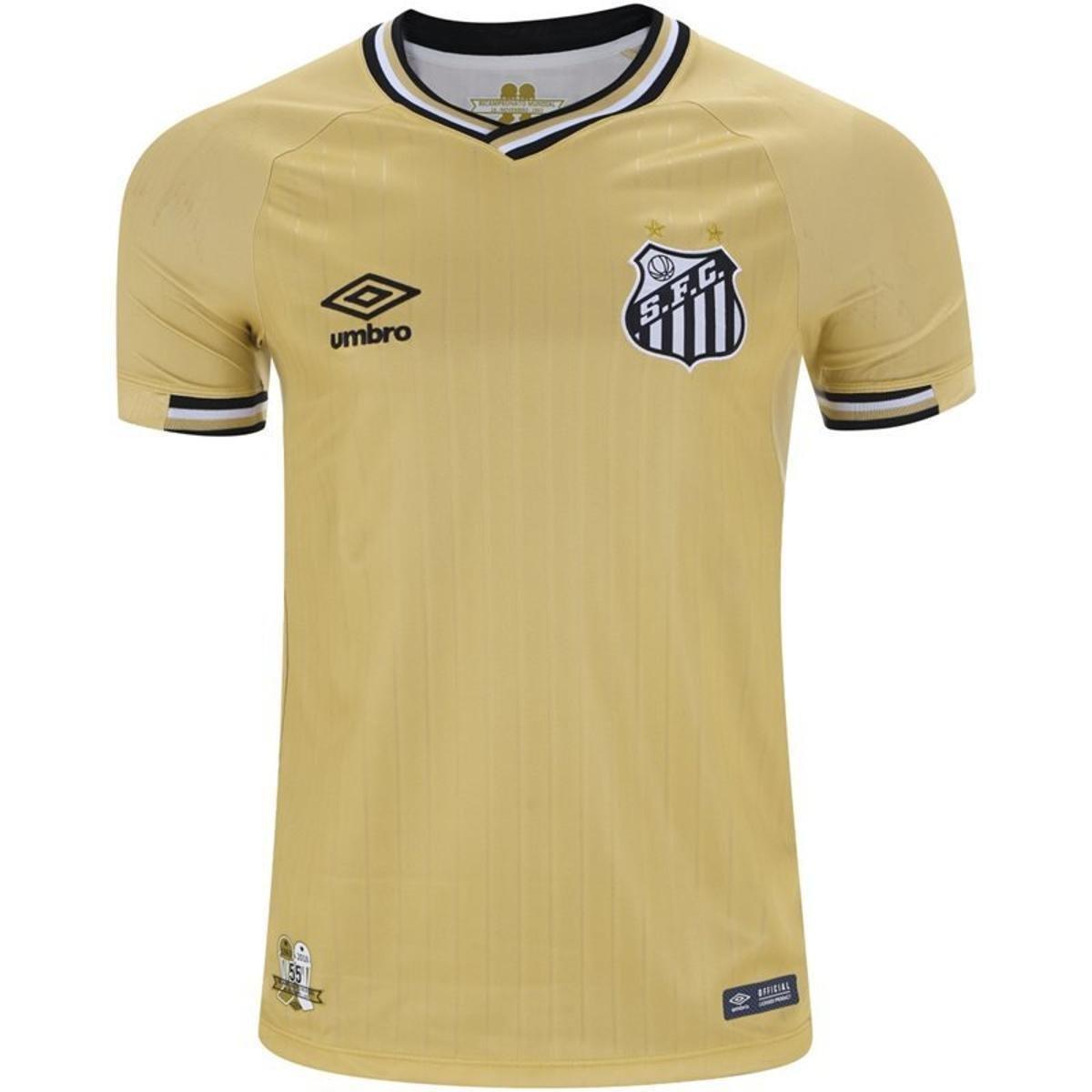 2f5f169aa5 Camisa Umbro Santos 2018 Masculina - Dourado e Preto | Netshoes