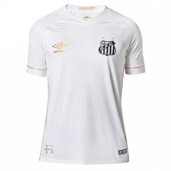 Camisa Umbro Santos OF 1 2018 Junior - Branco+dourado