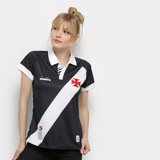 Camisa Vasco I 19/20 s/nº Torcedor Diadora Feminina - Preto