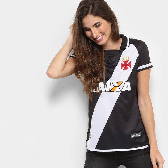 Camisa Vasco I s/n° 17/18 - Torcedor Umbro Feminina - Preto+Branco