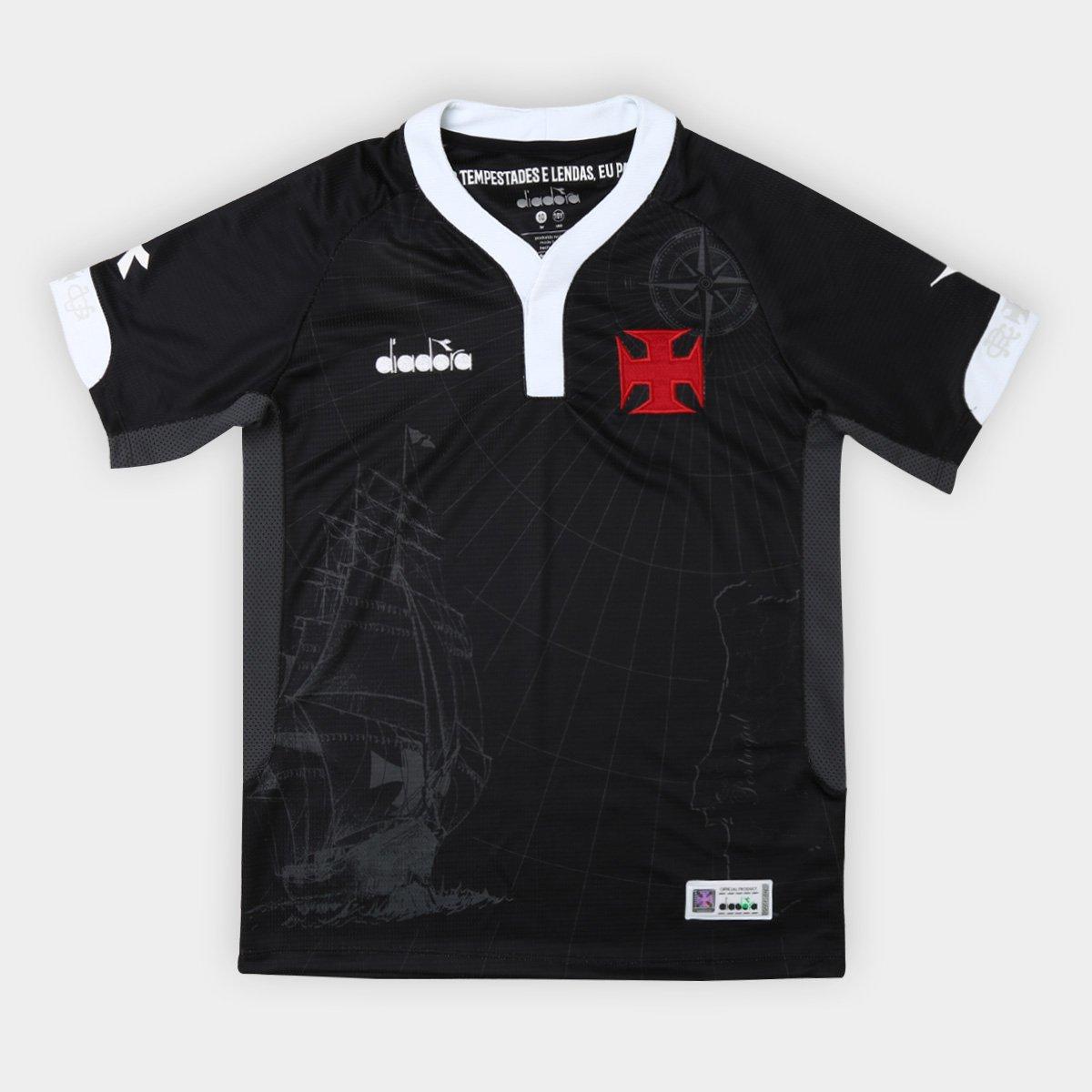 Camisa Vasco III 2018 s n° - Torcedor Diadora Infantil - Preto ... fbd3d47cf2bf4