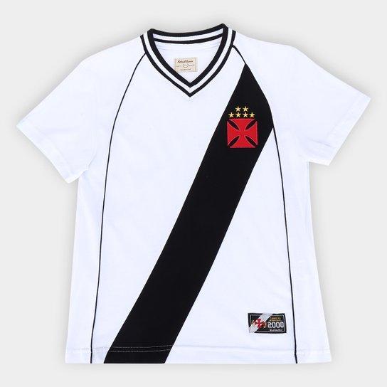 Camisa Vasco Juvenil 2000 Mercosul Retrô Mania - Branco+Preto