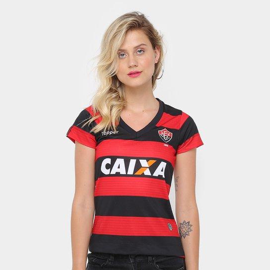 Camisa Vitória I 17/18 s/n° - Torcedor Topper Feminina - Vermelho+Preto