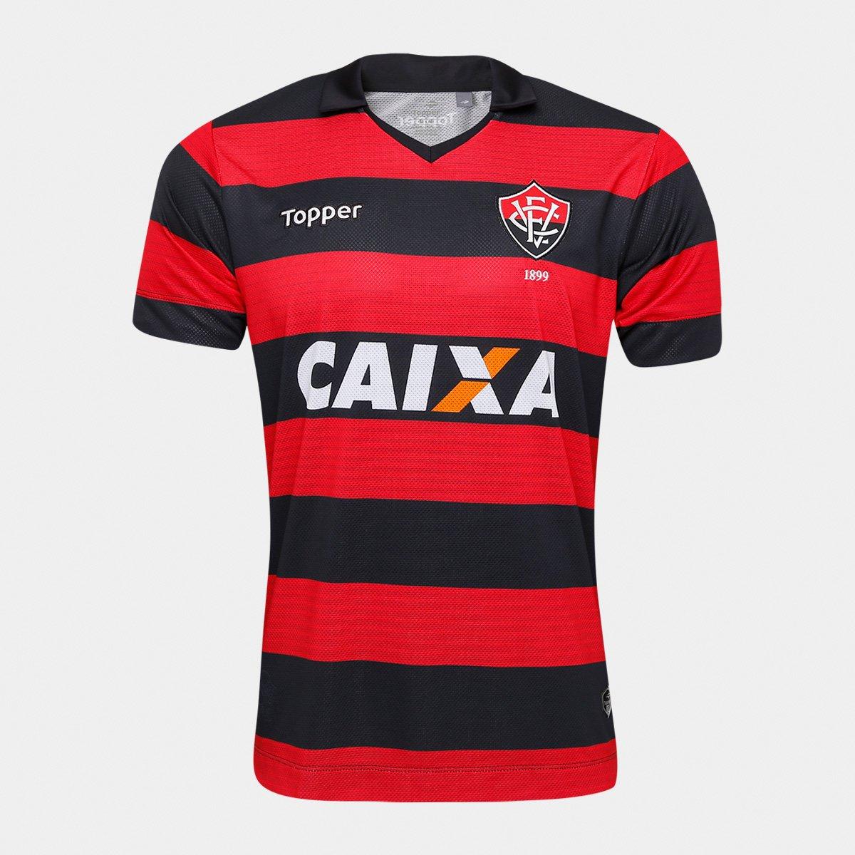 65e5192eb4931 Camisa Vitória I 17 18 s n° - Torcedor Topper Masculina - Vermelho e Preto  - Compre Agora