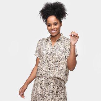 Camisa Volcom Animal Print Onça Feminina
