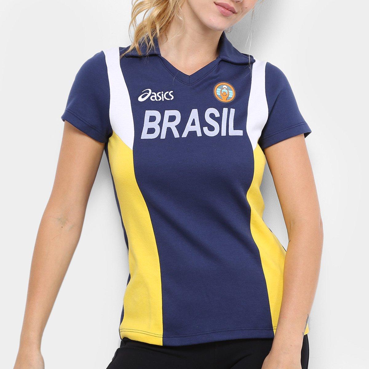 bca605cc70 Camisa Vôlei Brasil Rêtro Asics Feminina - Marinho e Amarelo ...