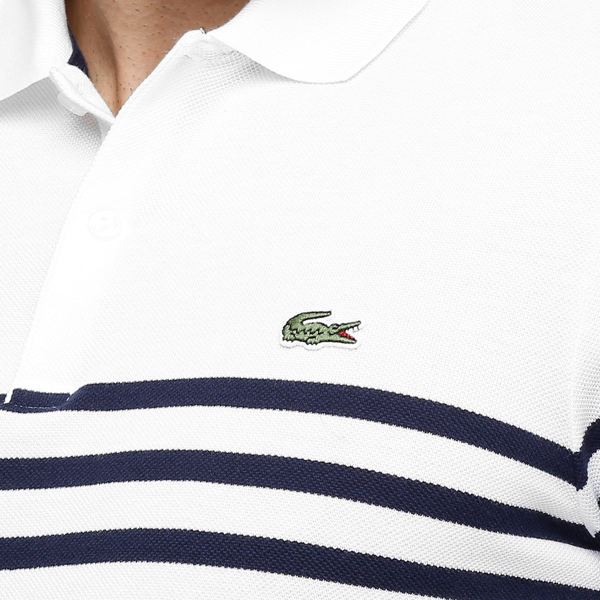 Camisas Polo Lacoste live Piquet listras finas - Compre Agora  bf22df959b2cf